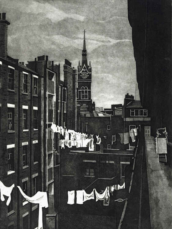 St Pancras station clock tower rises above washing hanging out to dry on washing lines strung across the courtyard of Midhope House on the Hillview estate in Kings Cross in the 1980s. Limited edition St Pancras station etching print by Colin Bailey