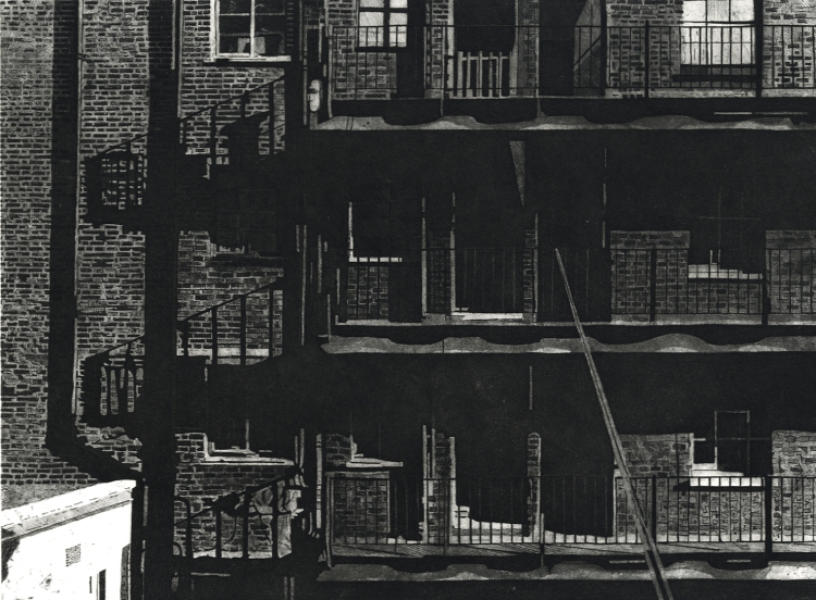HILLVIEW BALCONIES - Sunlight casts geometric shadows on the balconies of Midhope House on the Hillview Estate in Kings Cross, London Etching by Colin Bailey