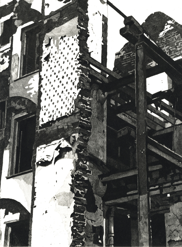 DEMOLITION - The skeleton of a building being demolished in Covent Garden in London in the 1980s Limited edition etching by Colin Bailey