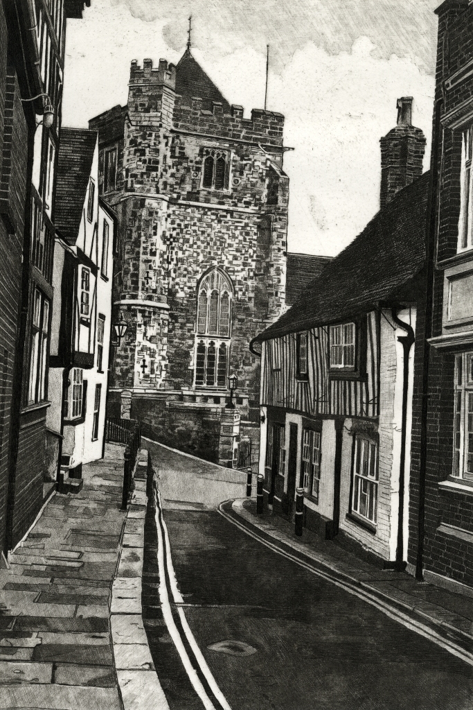 HILL STREET, HASTINGS - Etching by Colin Bailey of Hill Street looking down towards St Clements Church and Swan Terrace in Hastings Old Town