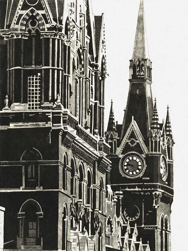 St Pancras station clocktower dominates the Euston Road, London.in the 1980s Limited edition St Pancras station etching print by Colin Bailey