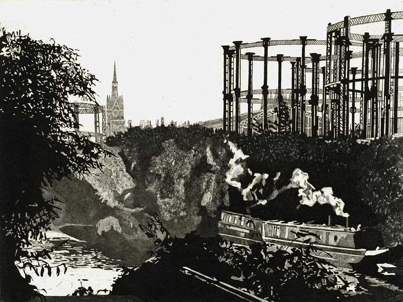 ST PANCRAS FROM THE REGENTS CANAL  - Breakfast smoke rises from a barge moored on the Rents Canal, behind Kings Cross. St Pancras station's famous clock tower rises in the distance Limited edition etching by Colin Bailey