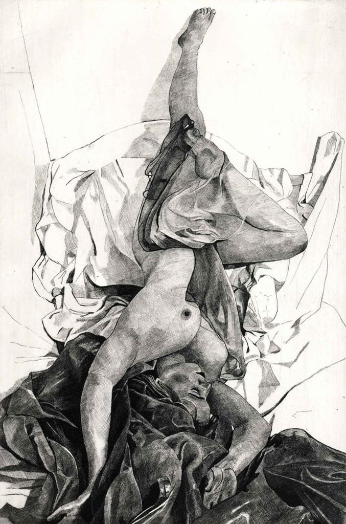 SALOME TUMBLING - Veiled nude tumbling in a sea of crumpled sheets and cloth drapery. Limited edition etching by Colin Bailey