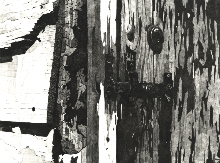 WEATHERED DOORWAY, RYE - Detailed etching of the splintered and weather beaten wooden doorway on the Strand Quay in Rye. Limited edition etching by Colin Bailey