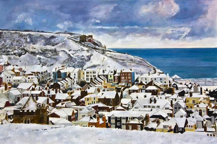 EAST HILL SNOW - Limited edition giclée print by Colin Bailey. Snow on the East Hill, the funicular railway and the roofs of houses in the Old Town, Hastings, East Sussex. .