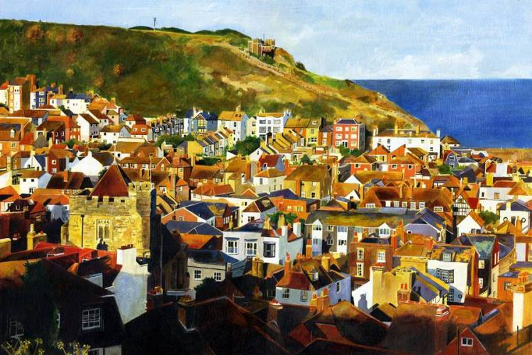 EAST HILL SUN - Late afternoon sunshine casts long shadows across the Old Town, Hastings and lights up the East Hill with its funicular railway -  Giclee print by Colin Bailey