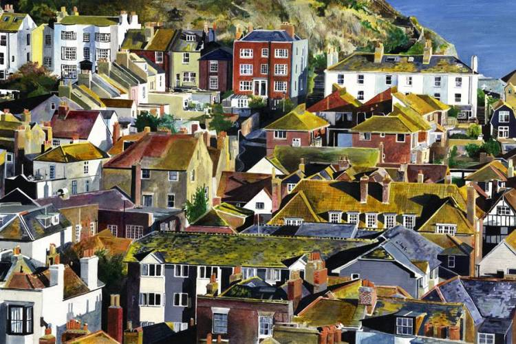 … AND LEMONS - Lemon yellow light light on the roofs of Hastings Old Town as it tumbles toward the sea. View from the West Hill. Hastings Old Town, East Sussex. Oil painting on paper and giclee print by Colin Bailey