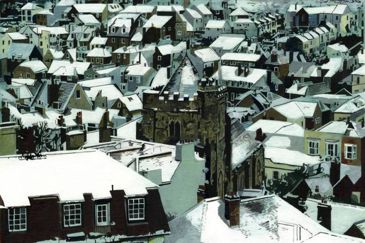 OLD TOWN ROOFS, SNOW - Snow on the roof of St Clement's and the houses of the Old Town, Hastings, East Sussex