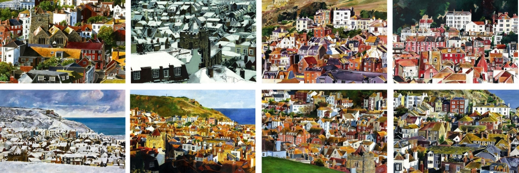 This is a series of paintings done over a span of 5 years all covering views of Hastings old town which is situated between two hills; The West hill and the East hill. Running down to the sea at one end, these hils give spectacular views of the rooftops of the old town nestling in the valley below.