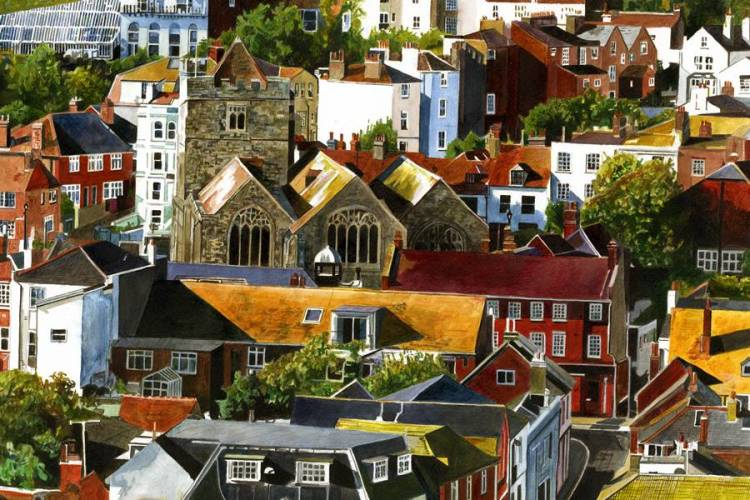 OLD TOWN SUMMER ROOFS = Painting and giclée print by Colin Bailey. Summer sunshine colouring the roofs of houses in the Old Town, Hastings, East Sussex