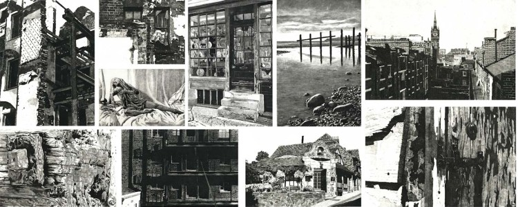 collage of black and white etchings by printmaker Colin Bailey