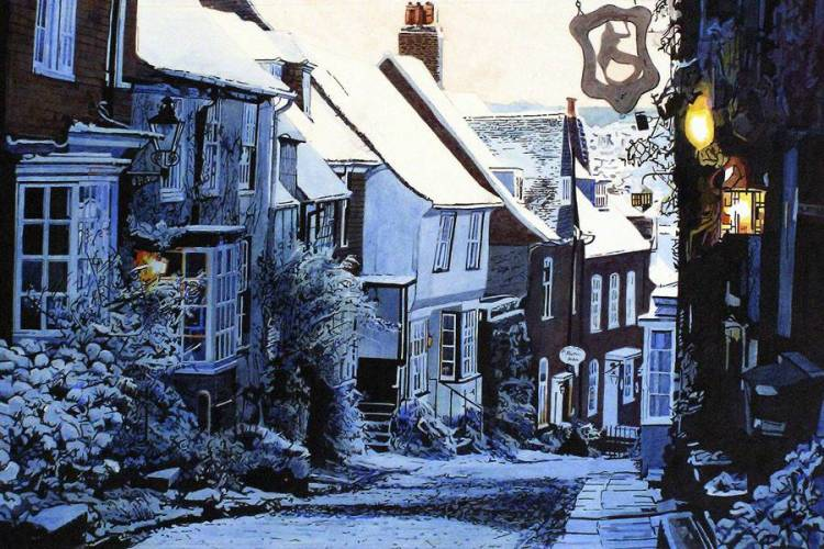SLIP DOWN MERMAID STREET, RYE Snow covering Rye's most famous street. A slippery trip down the icy, cobbled Mermaid Street, past the snow dusted sign of  the Mermaid Inn on the right, and on to  the orange glow of lights in the windows of Jeakes House.