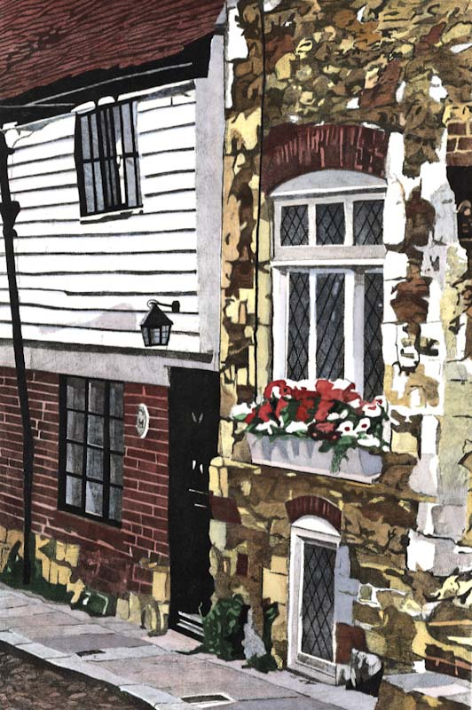 WEST STREET, RYE Crumbling stonework in West street leading from church square to Lamb House in Rye .  Limited edition hand-coloured etching