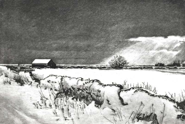 WINTER FIELDS, NEAR RYE - Snow covered field between Rye and Winchelsea beach past Camber Castle. Limited edition etching by Colin Bailey.
